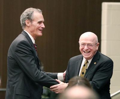 UW-La Crosse Chancellor Joe Gow greets UW System president Ray Cross
