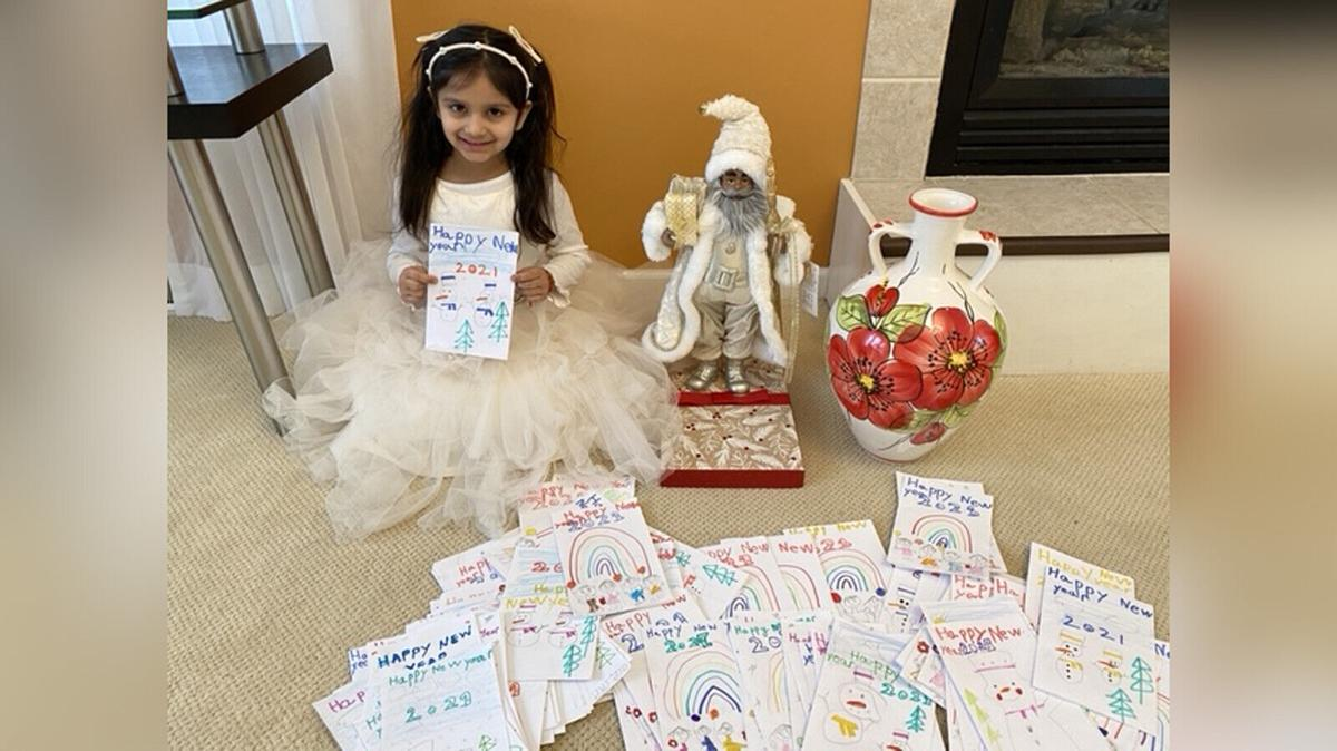 This kindergartner spent almost 2 weeks making 200 New Year's cards for seniors. Then she broke her piggy bank to buy them a gift