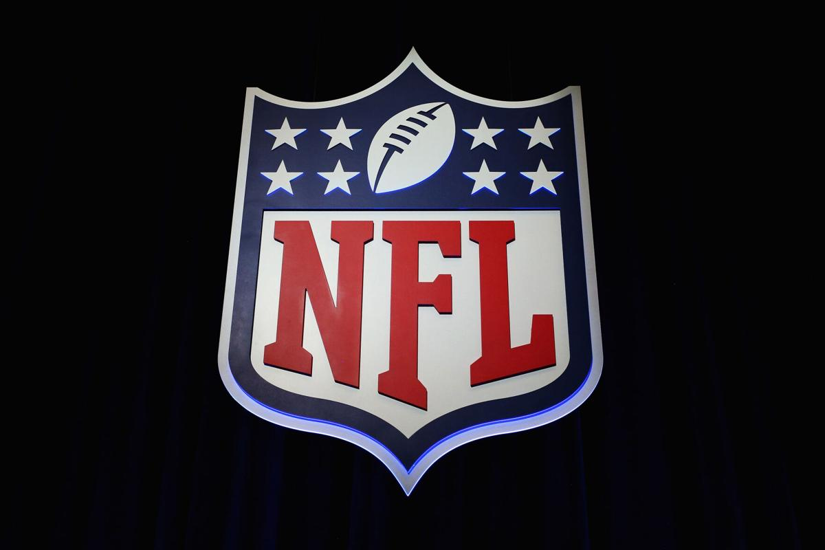 The NFL shield logo is seen following a news conference held by NFL Commissioner Roger Goodell at the George R. Brown Convention Center in Houston on February 1, 2017.
