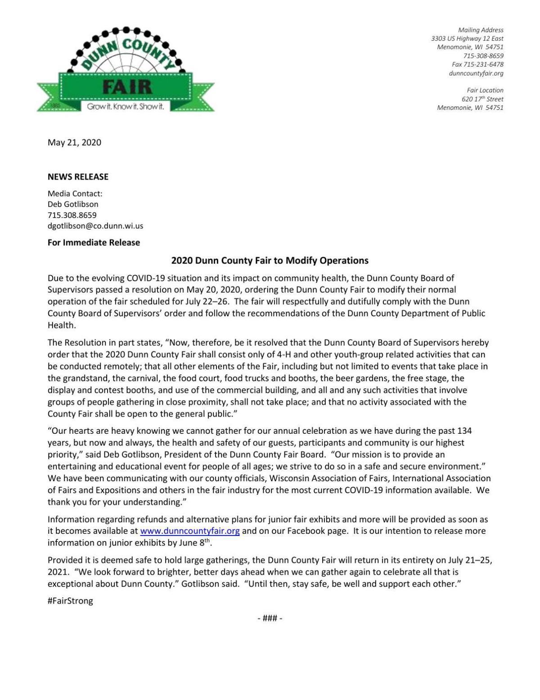 Dunn County Fair Board press release