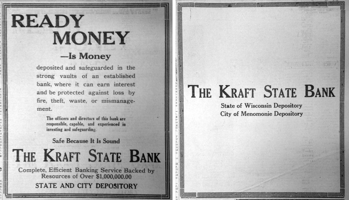 Kraft State Bank ad