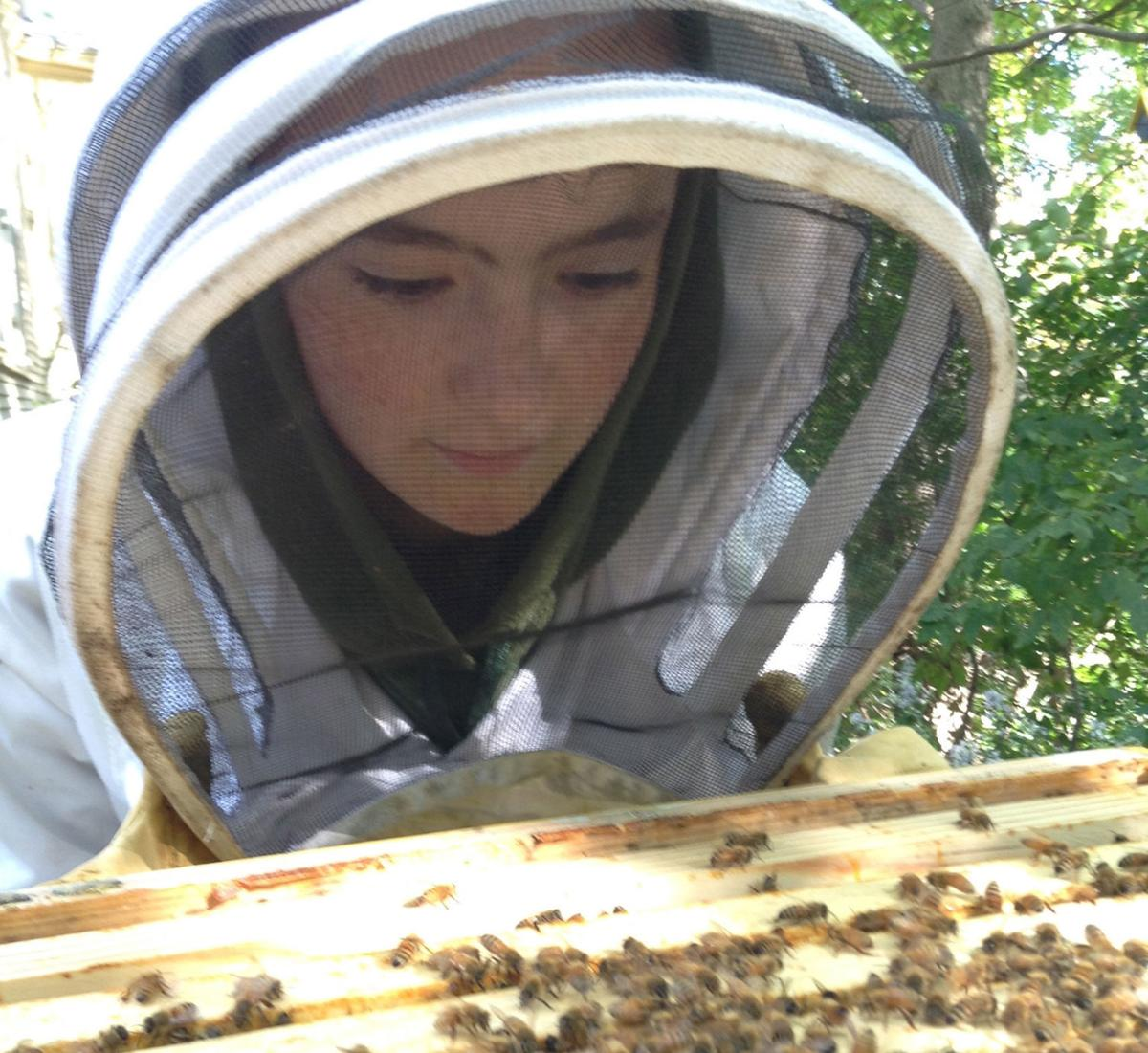 Natalie Abbott with bees