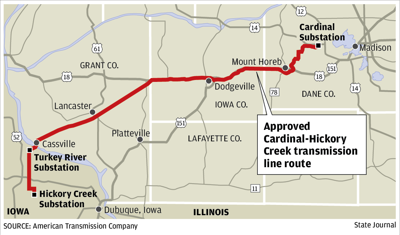 Approved Cardinal-Hickory Creek transmission line route map
