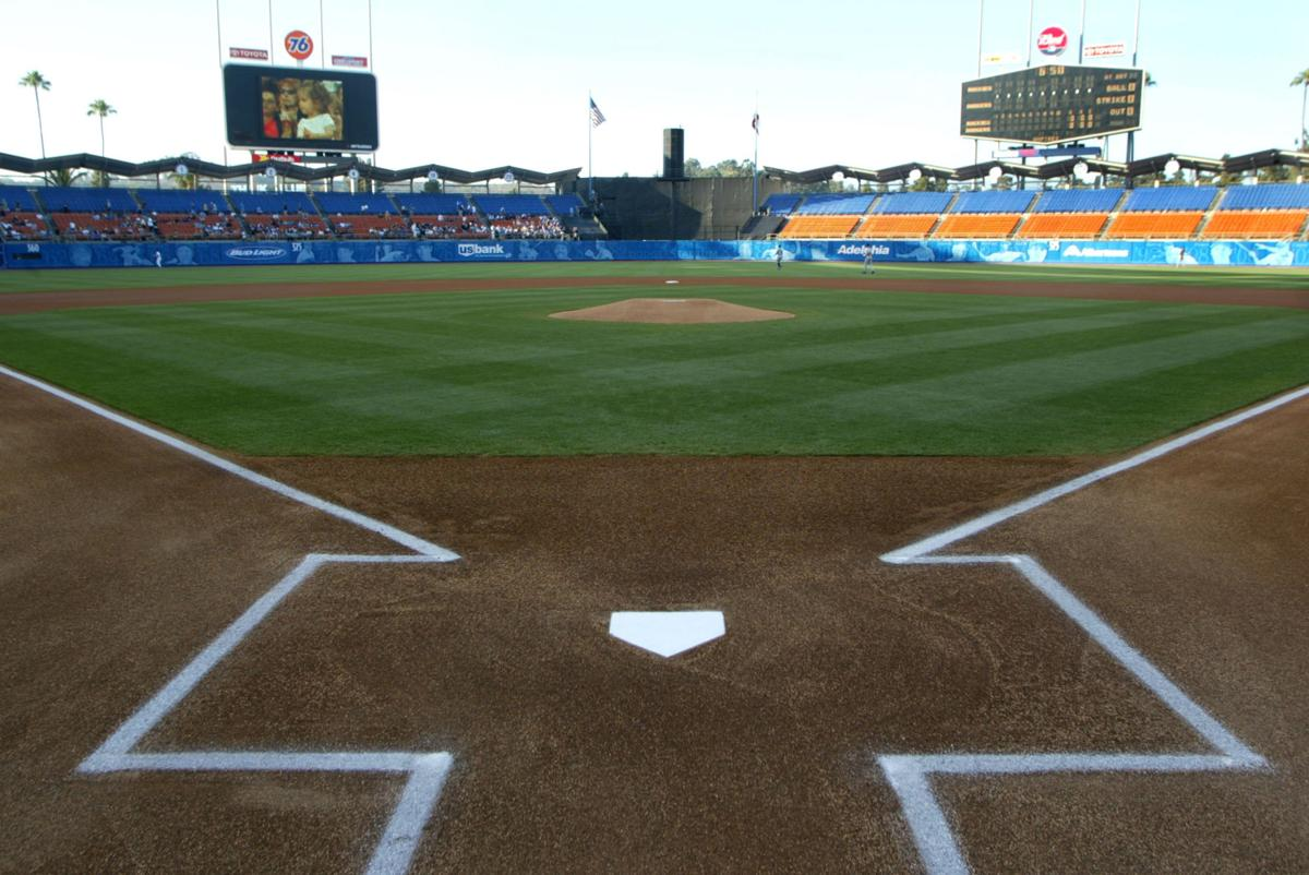 The view from home plate at Dodger Stadium in Los Angeles in June 2002.
