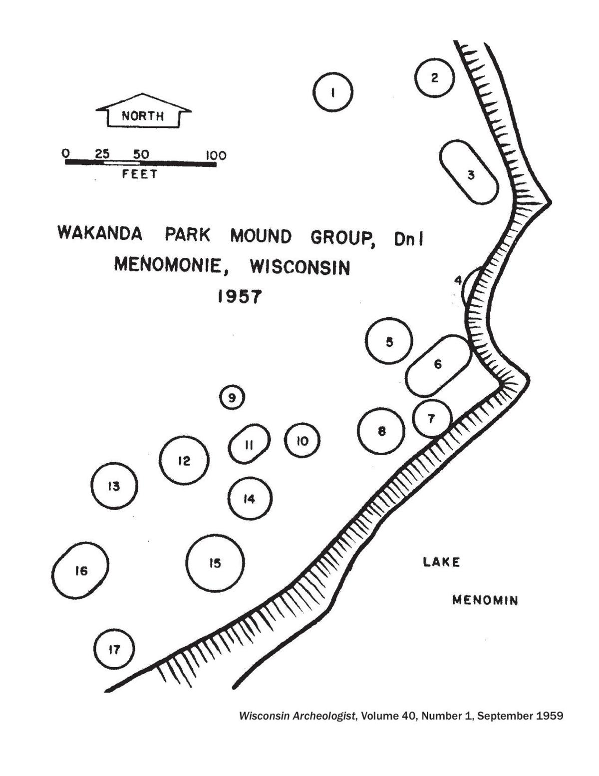 Wakanda Park Mound Group 1957 map