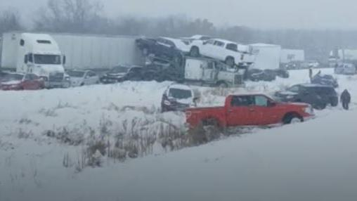 Massive 40-car pileup shuts down I-94 in Eau Claire County