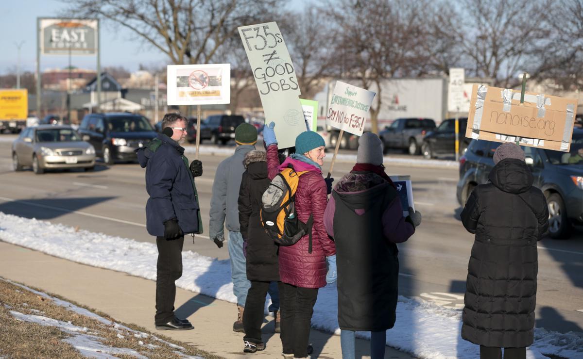 Protesting against warplanes