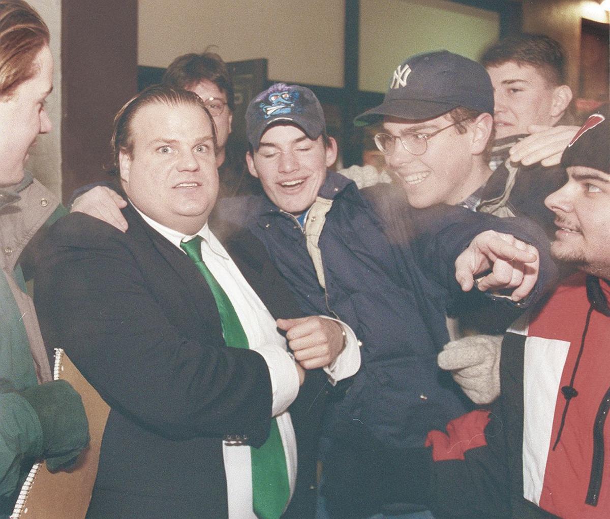 Swarmed by fans, 1996