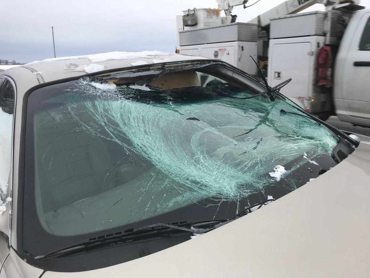 Driver injured after ice pierces windshield in Dunn County