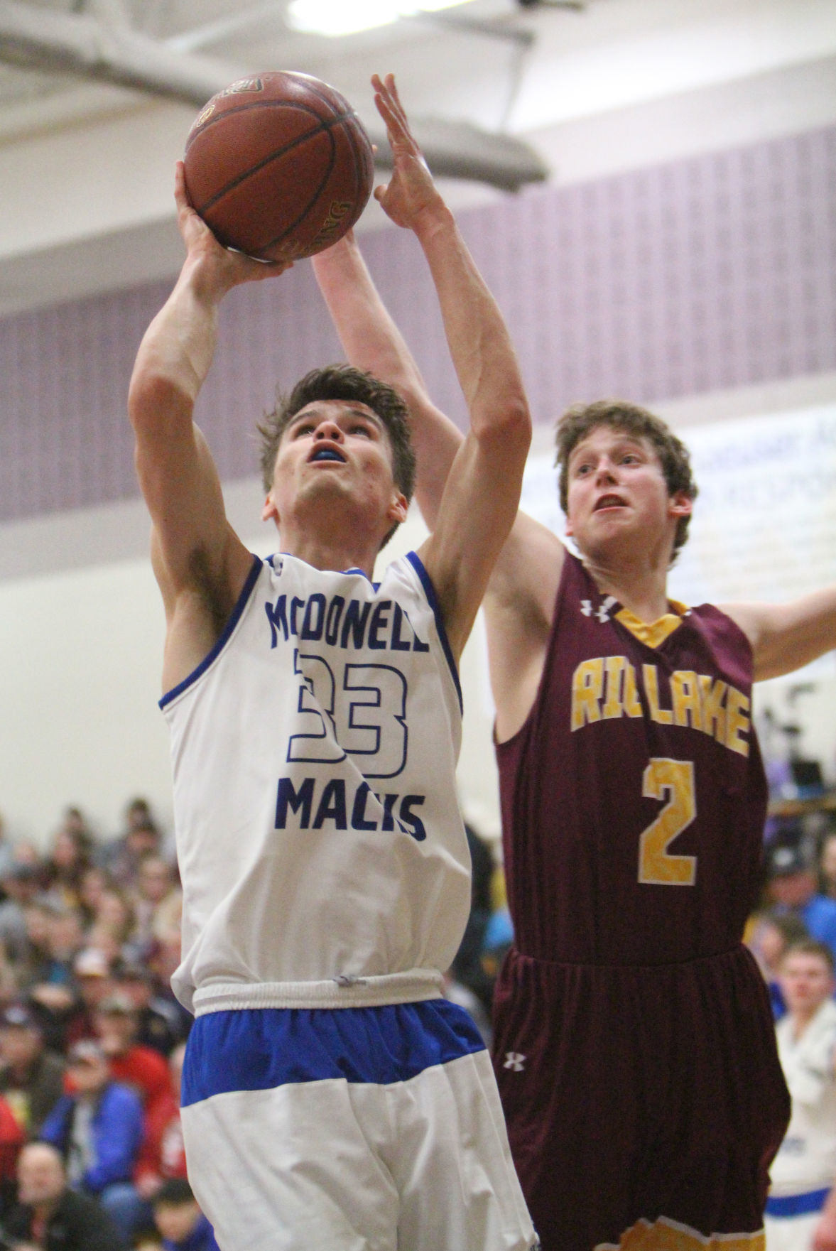 McDonell boys basketball vs Rib Lake at Chetek-Weyerhaeuser 3-8-18