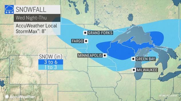Snowfall forecast Wednesday night-Thursday storm by AccuWeather