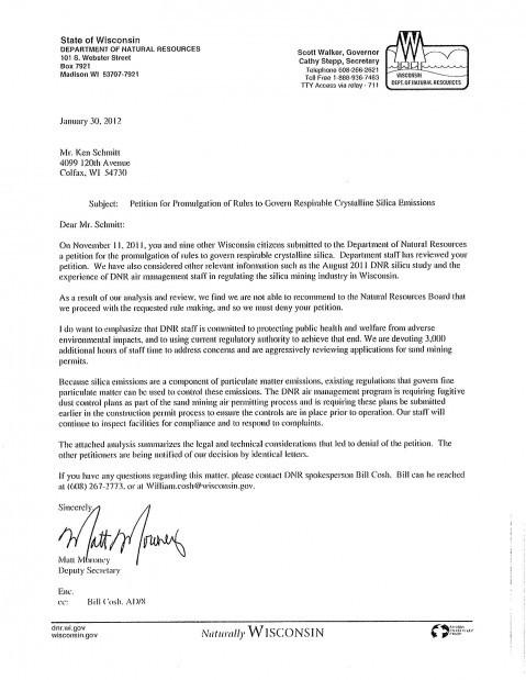 DNR silica petition response