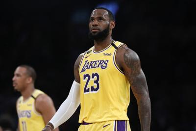 The Los Angeles Lakers' LeBron James (23) in a game against the Milwaukee Bucks on March 6, 2020, in Los Angeles.