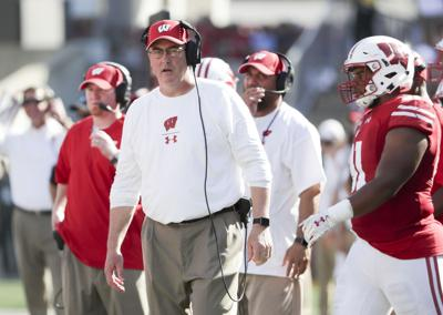 Paul Chryst on sidelines 2018, State Journal generic file photo