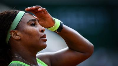 Serena Williams of the U.S. reacts as she plays against Kazakhstan's Elena Rybakina during their women's singles fourth round tennis match on Day 8 of The Roland Garros 2021 French Open tennis tournament in Paris on Sunday, June 6, 2021.