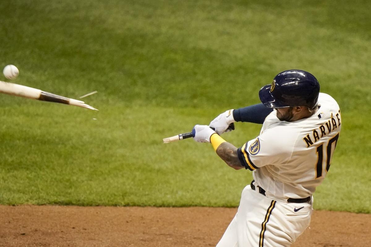 Omar Narváez hitting, AP generic file photo