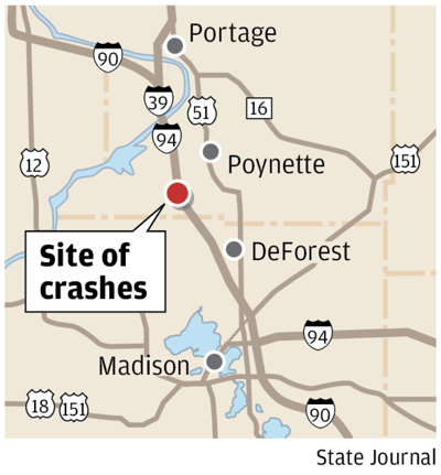 4 dead interstate crashes map