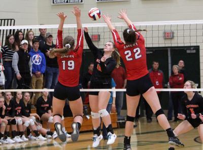 Bloomer volleyball vs Amery at Osceola 10-25-18