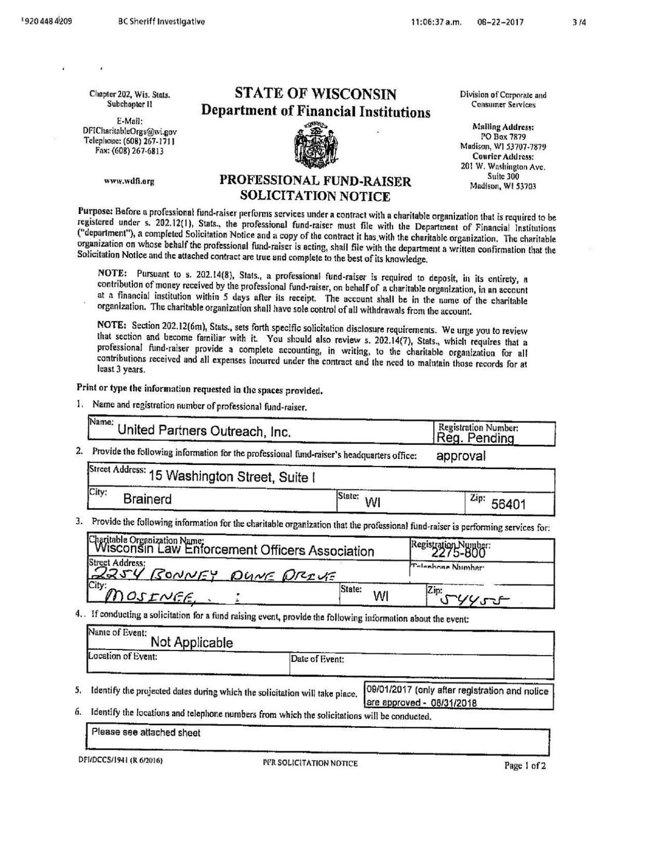 WLEOA fundraising contract