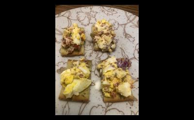 Amish egg salad on crackers