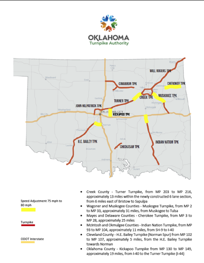 Oklahoma Turnpikes turn up maximum speed limits in selected rural areas