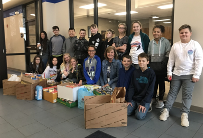 Oologah Middle School donates over 550 items to food bank