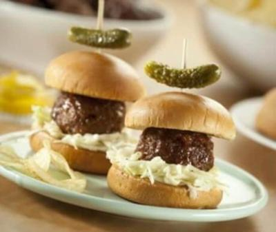 Mini barbecue meatball sliders