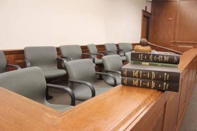 Gavel in empty courtroom