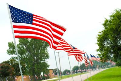 U.S. flags on Old Betsy Road in Keene