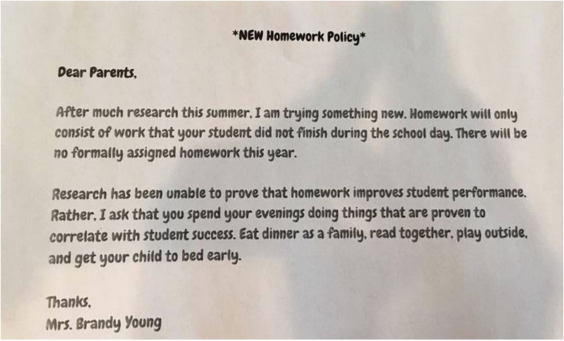 Down With Homework Teachers Viral Note >> Godley Teacher S Letter About Homework Policy Goes Viral Local