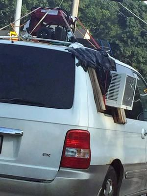Jury-rigged AC system for car