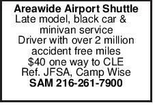 Areawide Airport Shuttle Late model, black car & minivan service