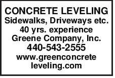 CONCRETE LEVELING Sidewalks, Driveways etc. 40 yrs. experience Greene Company