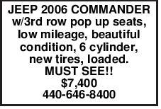 JEEP 2006 COMMANDER w/3rd row pop up seats, low mileage