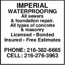 Imperial Waterproofing All Sewers Foundation Repair