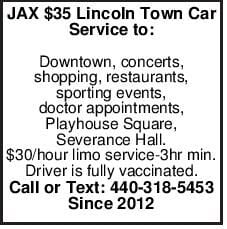 JAX $35 Lincoln Town Car Service to: Downtown, concerts, shopping