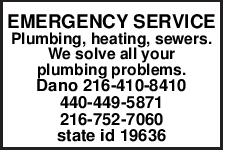 EMERGENCY SERVICE Plumbing, heating, sewers. We solve all your plumbing