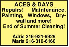 ACES & DAYS Repairs! Maintenance, Painting, Windows, Drywall and more!