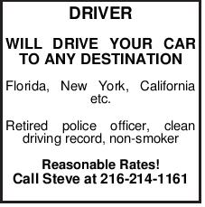 DRIVER WILL DRIVE YOUR CAR TO ANY DESTINATION