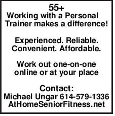 55+ Working with a Personal Trainer makes a difference! Experienced.