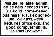 Mature, reliable, admin. office help needed in my S. Euclid