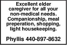 Excellent elder caregiver for all your non-medical needs. Companionship, meal