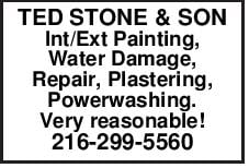 TED STONE & SON Int/Ext Painting, Water Damage, Repair, Plastering