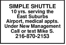 SIMPLE SHUTTLE 10 yrs. serving the East Suburbs Airport, medical
