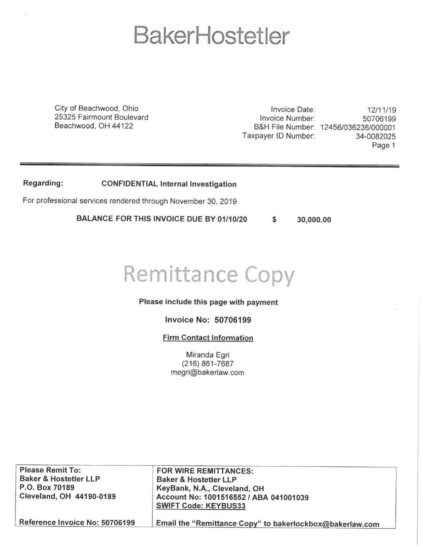 The BakerHostetler invoice for the investigation into Mayor Martin S. Horowitz