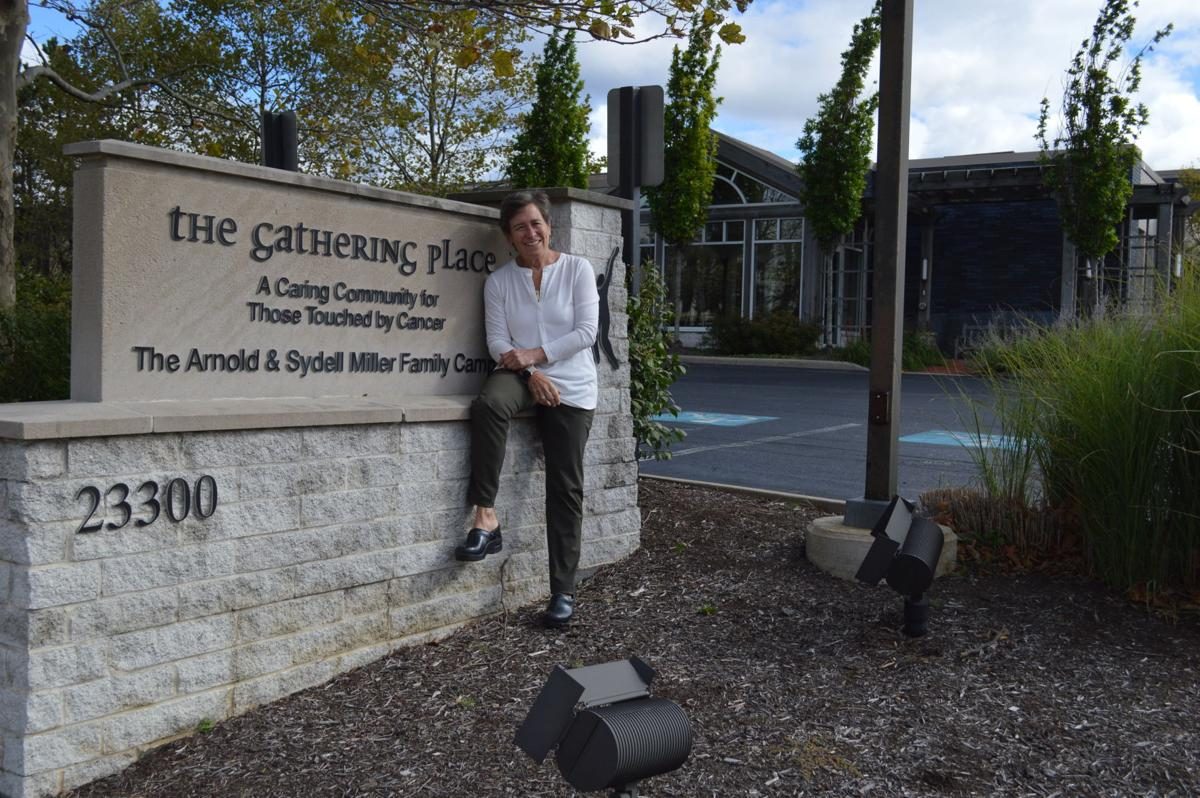Eileen Saffran and The Gathering Place sign