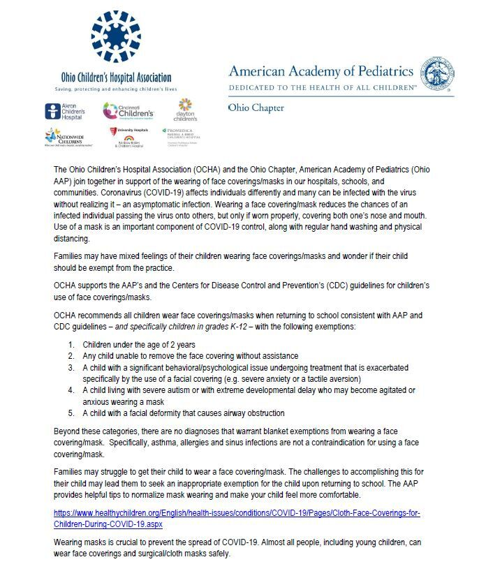 Ohio Children's Hospital Association, American Academy of Pediatrics letter