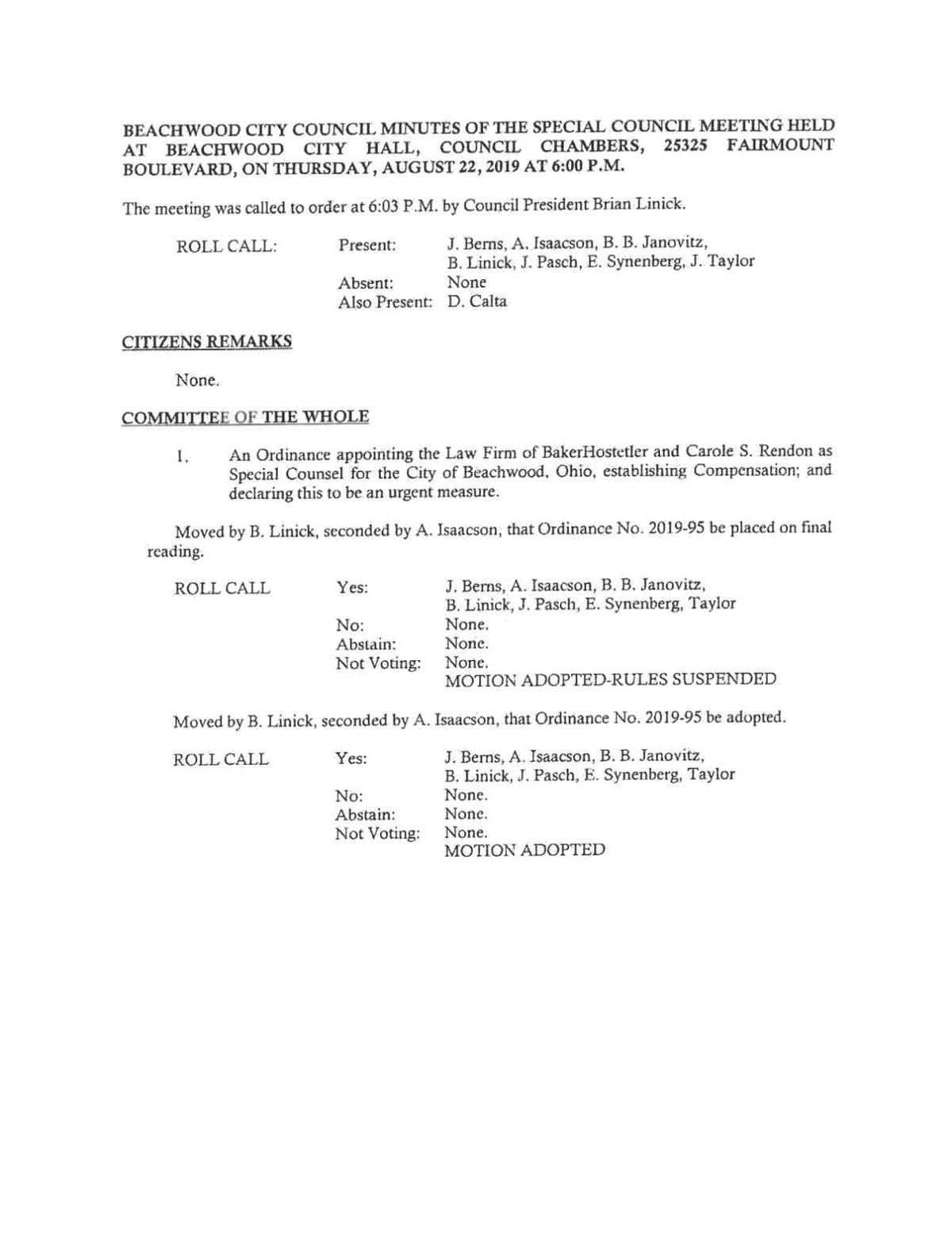 Beachwood City Council minutes of the special council meeting Aug. 22