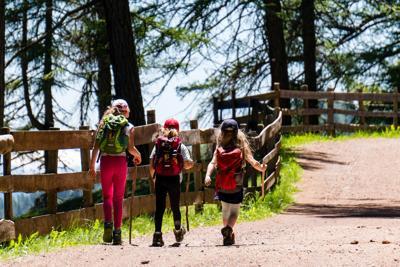 stock kids hiking trail