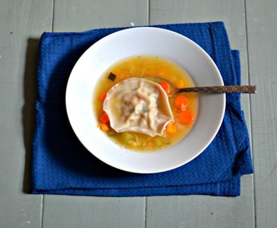 Traditional Chicken Kreplach in Golden Chicken Soup